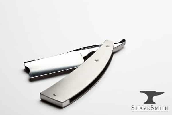 12/8 Sheffield Style Straight Razor in Brushed Titanium Handles.