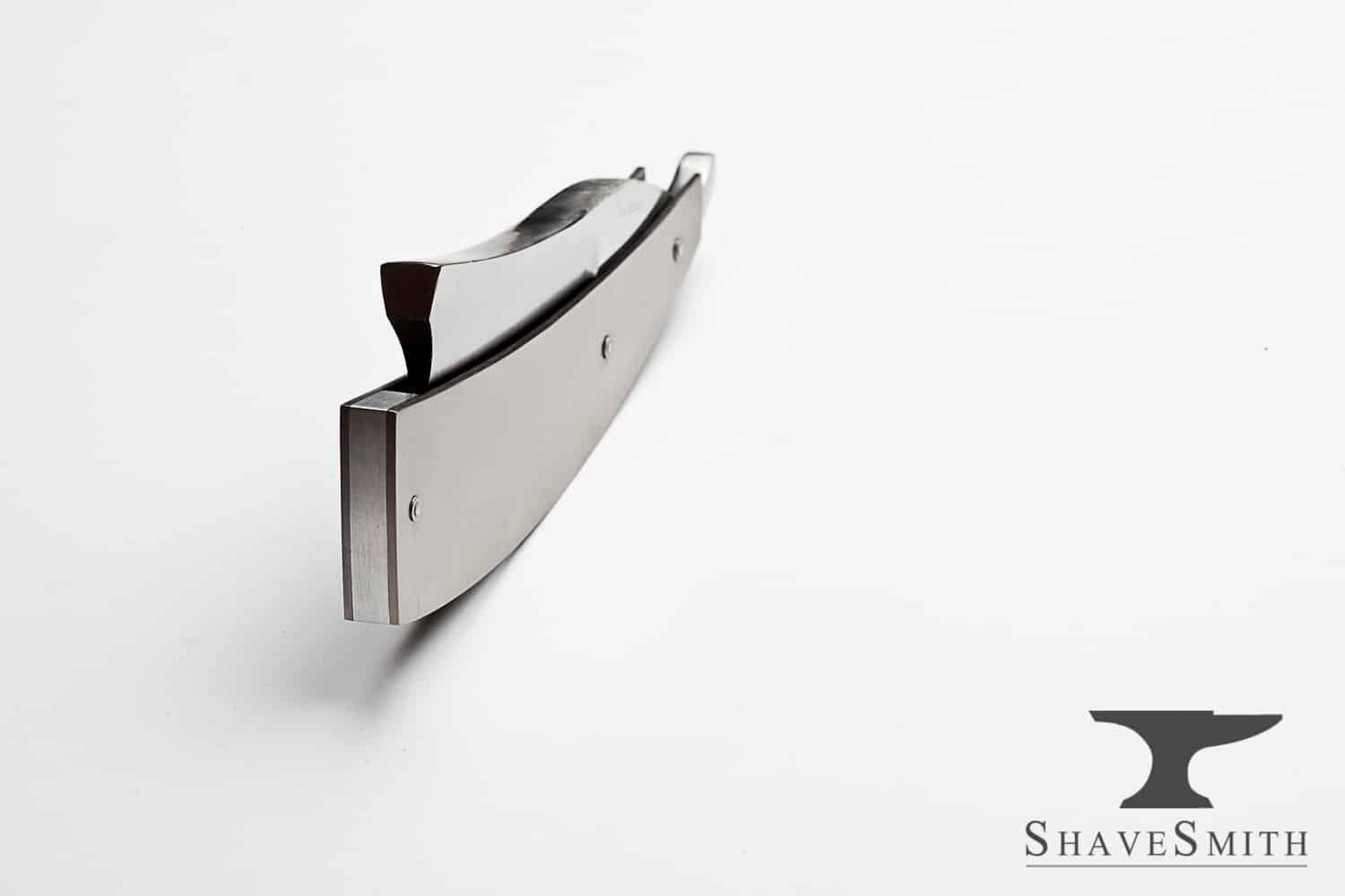 12/8 Sheffield Style Straight Razor in Brushed Titanium Handles.