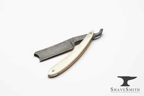 7-8 High Carbon Damascus Custom Straight Razor in Camel Bone_.CR2