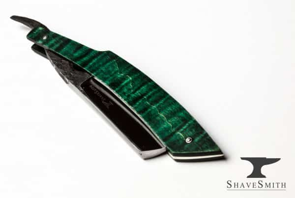 7/8 Wedge Grind, Green Tiger Maple, Forge Finished – Custom Straight Razor