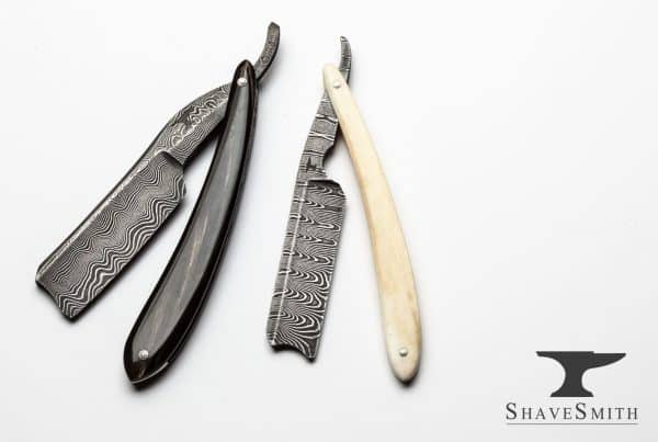 """Weekend Set"" Ox horn and Camel Bone, 7/8ths and 8/8+, Fine Silver Damascus – Custom Straight Razor Set"