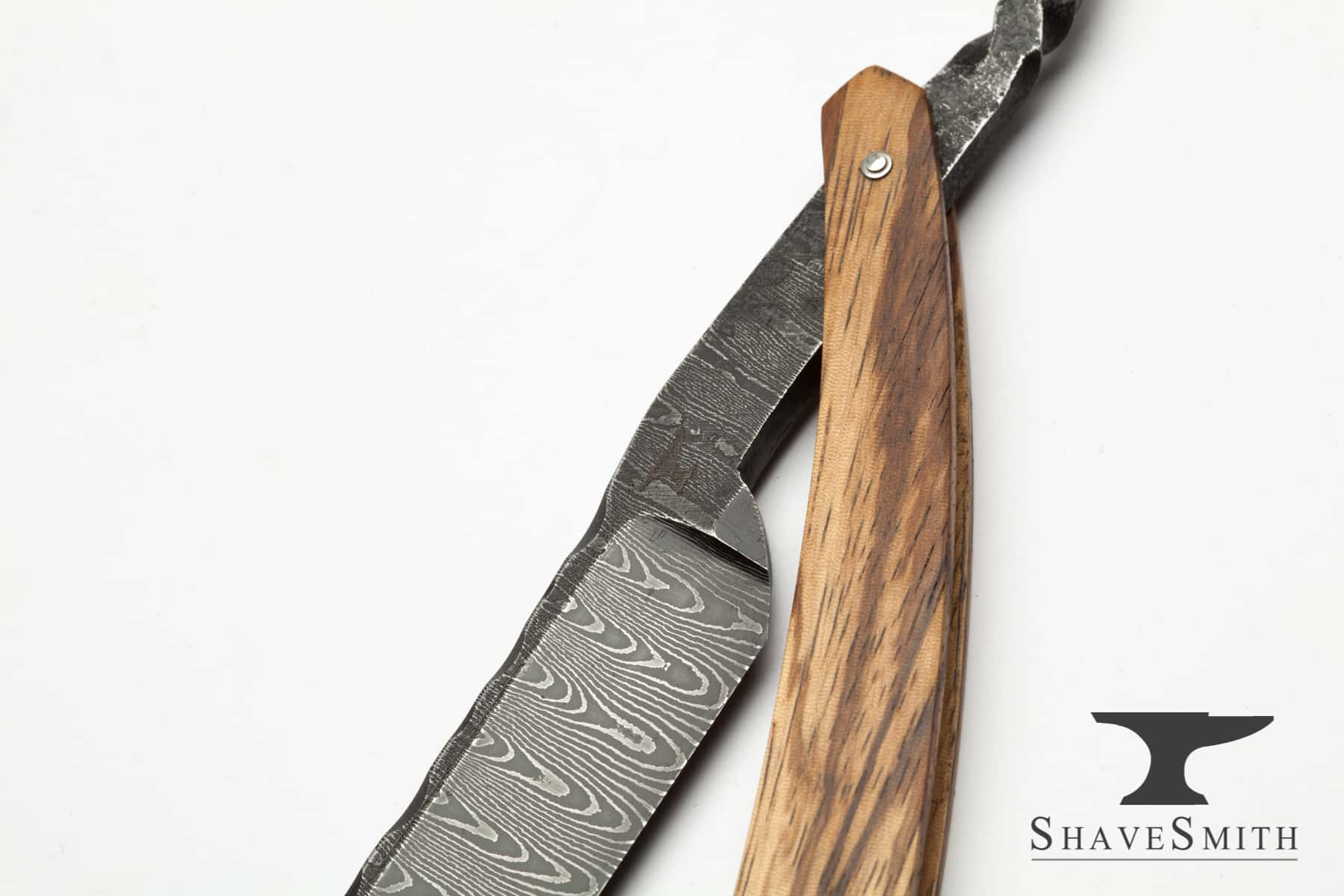 7/8 Wedge Grind, Zebra Wood, Forged, Worked Spine Damascus – Custom Straight Razor