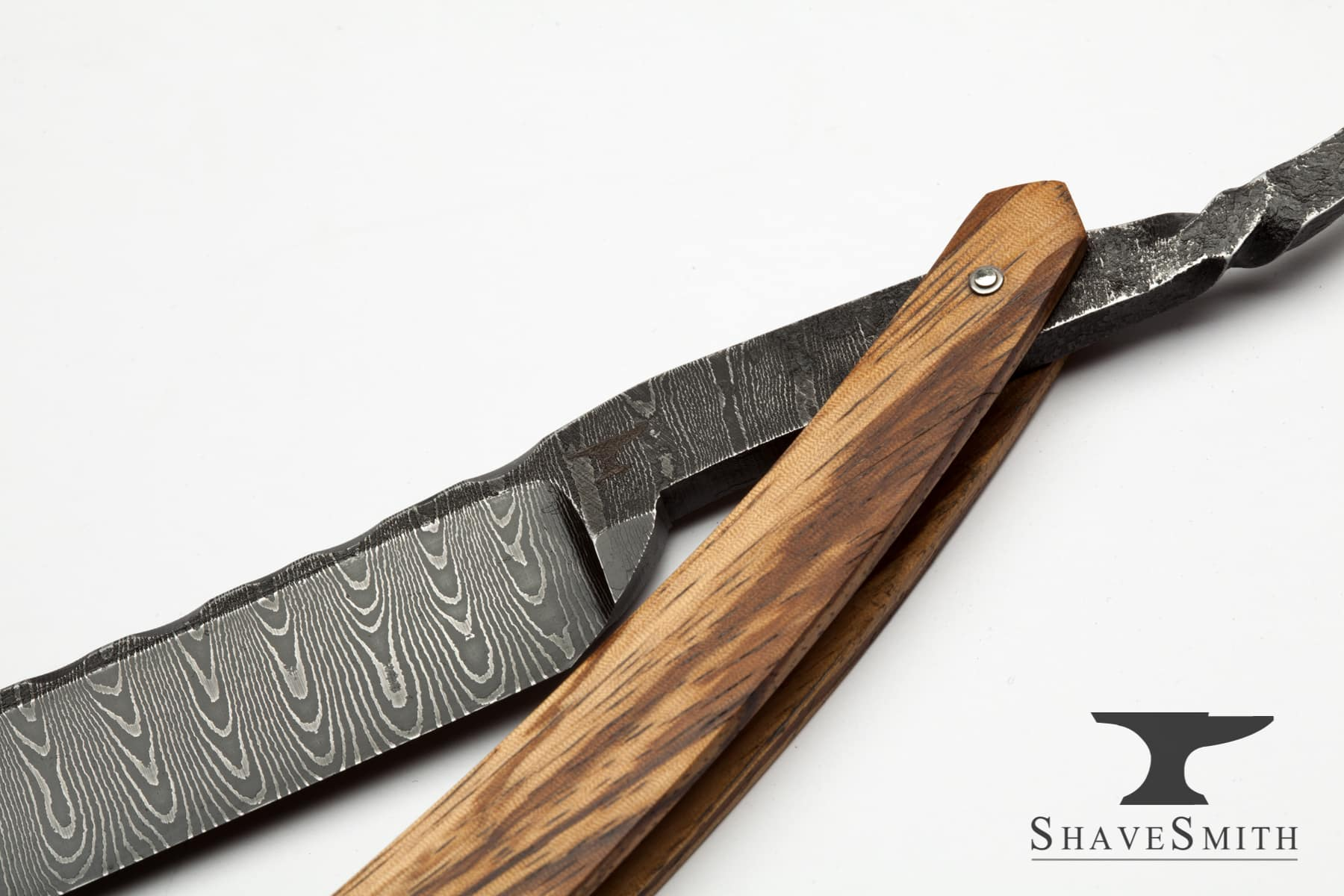 7/8 Wedge Grind, Zebra Wood, Forged, Worked Spine Damascus – Custom Straight Razor