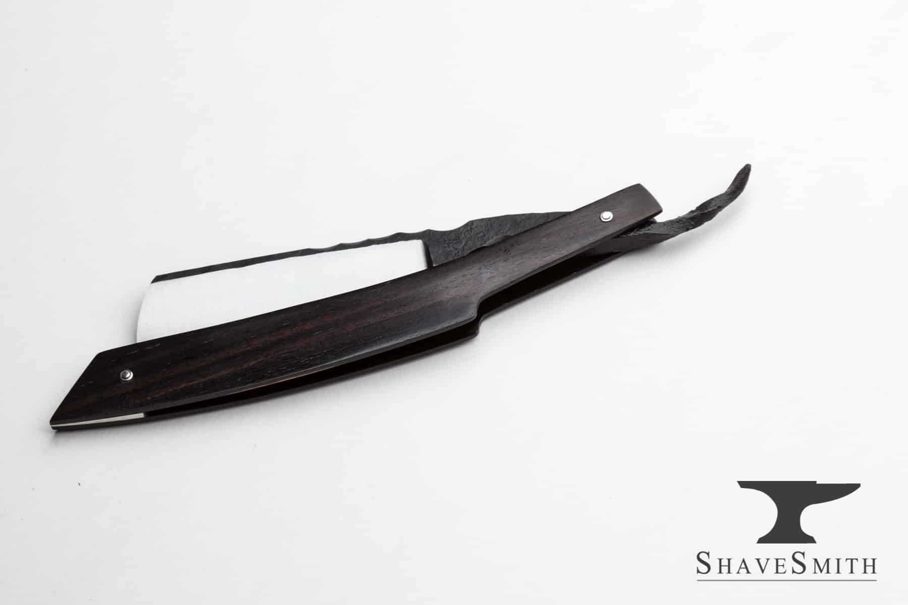 7/8ths, Wedge Grind, African Blackwood, Fine Silver  – Custom Straight Razor