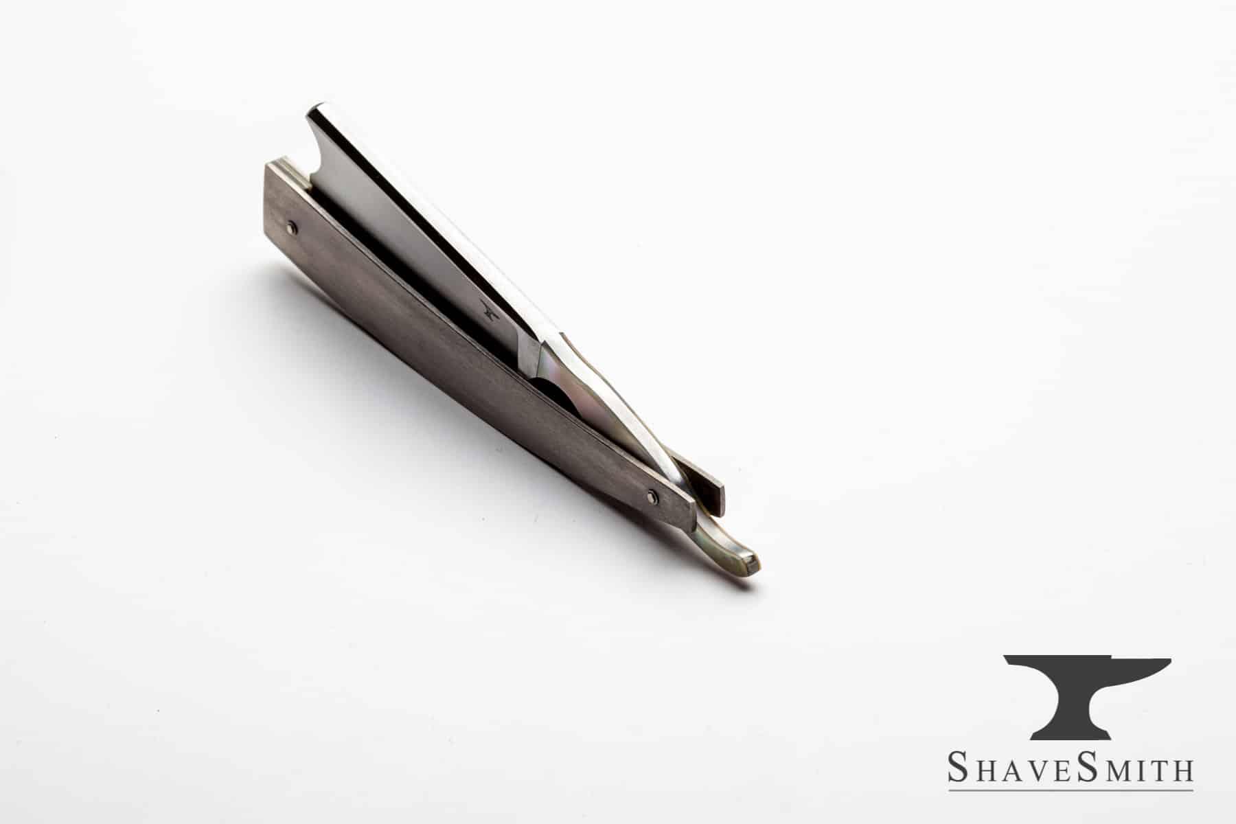 Seaside -  7-8 Shell Inlay, Titanium and Silver Custom Straight Razor