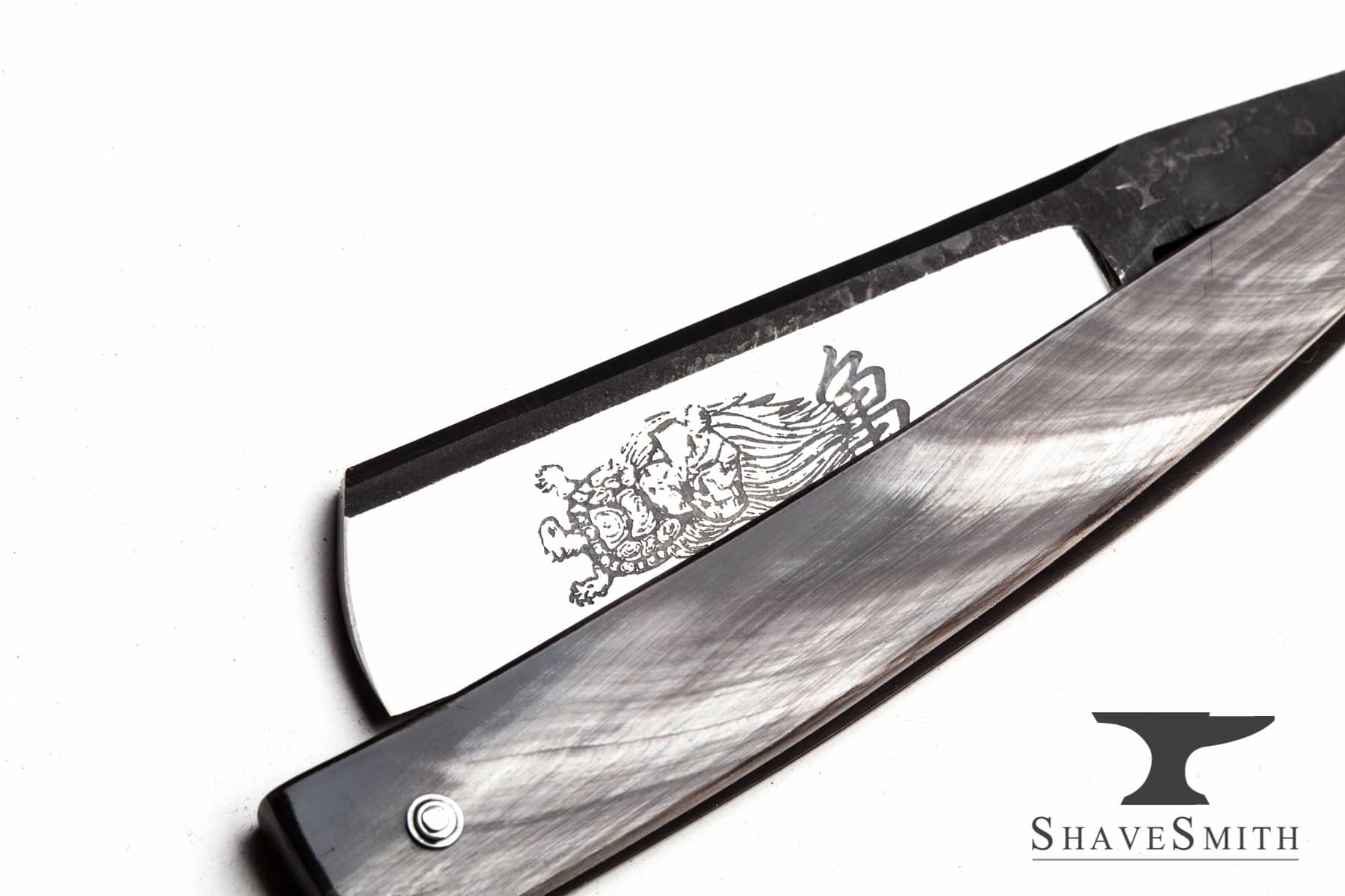 Urashima Tarō - 6/8, Figured Ox Horn, Original Artwork - Custom Straight Razor.