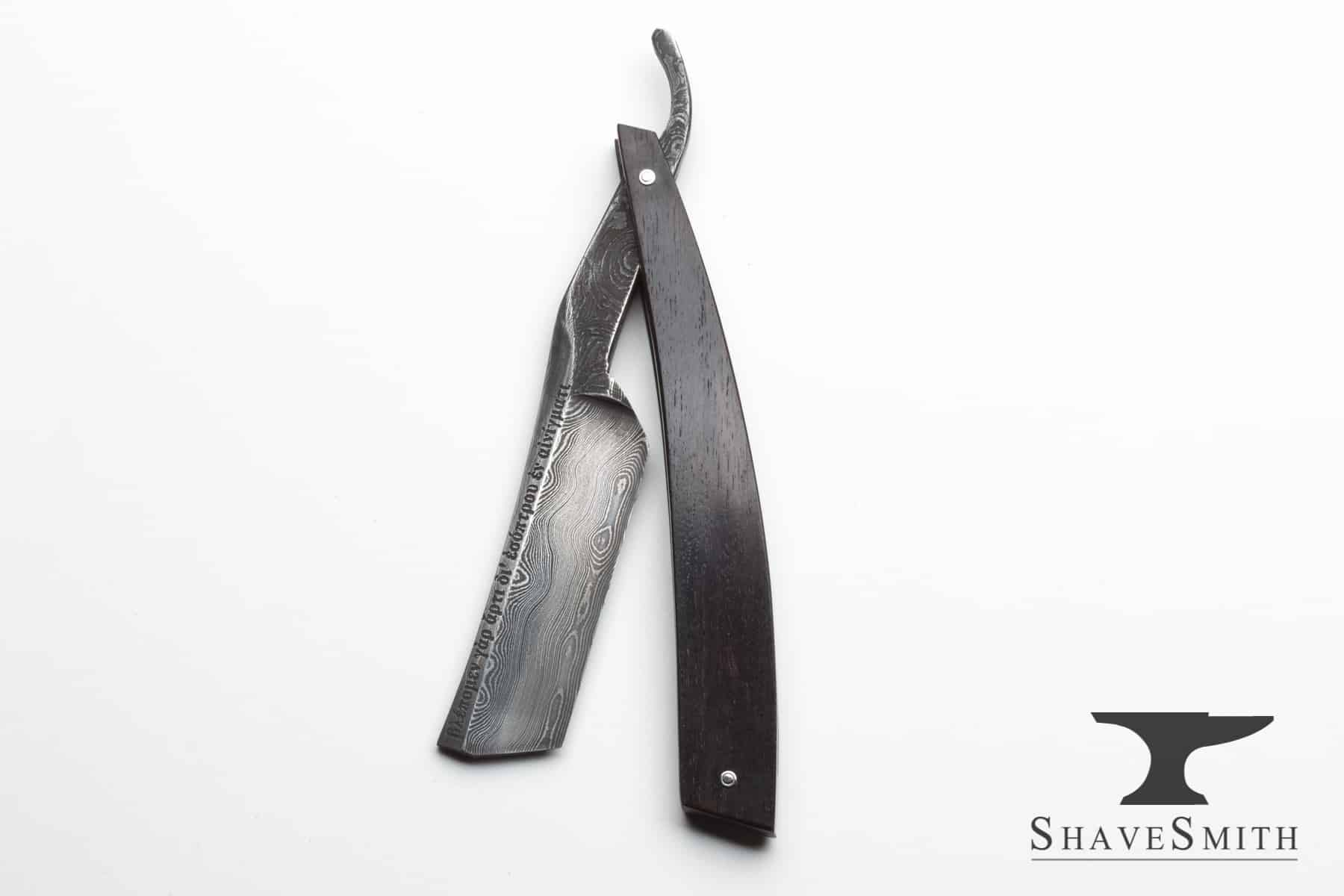 Agape - 7/8 Damascus, African Blackwood, Swayback, Tanto Custom Straight Razor