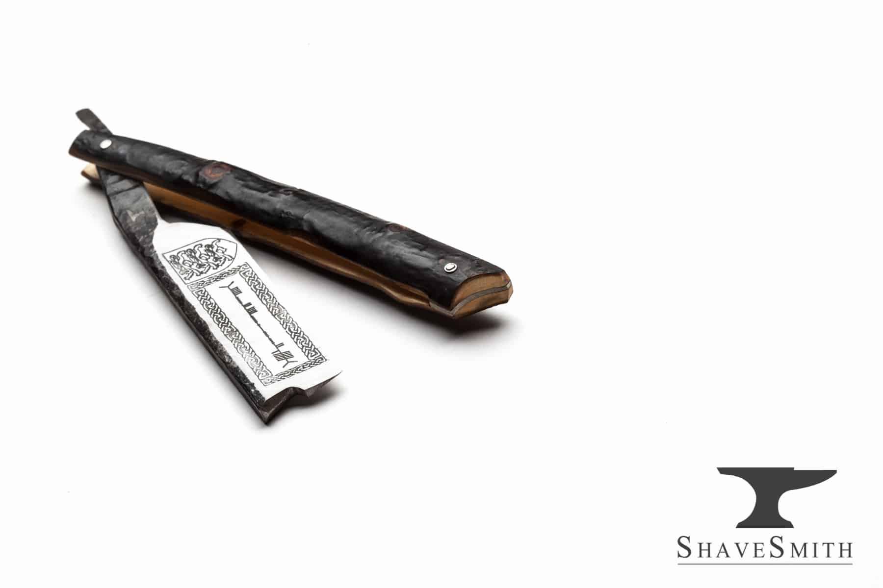 O'Brien's Shillelagh - 7/8 Forge Forge Finsih, Blackthorn Wood, Fine Silver - Custom Straight Razor