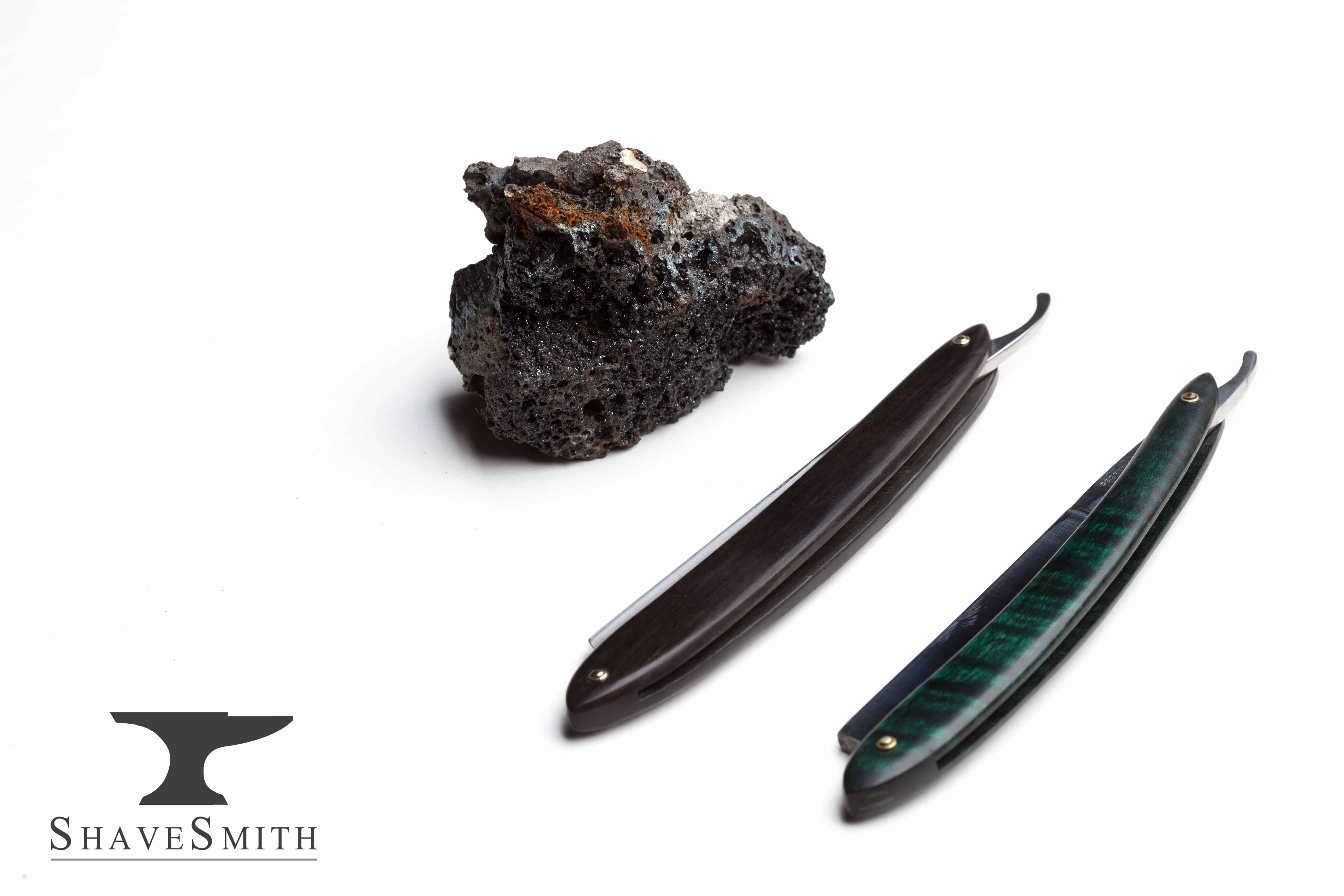 Viking iron ore and a couple of straight razors I made.